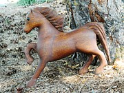 Animals Sculptures - Padauk Horse by Marlowe Frantz