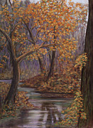 Fall Colors Autumn Colors Pastels Posters - Padden Creek Fog Poster by Pamela Heward