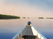 Canoes Paintings - Paddle at Dawn by Kenneth M  Kirsch