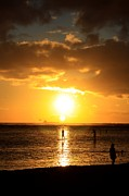Sun Flare Framed Prints - Paddle Boarding Ala Moana Framed Print by DJ Florek