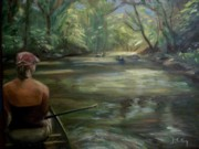 Canoe Painting Posters - Paddle Break Poster by Donna Tuten
