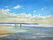 Figures Painting Framed Prints - Paddling at the Edge Framed Print by Timothy  Easton