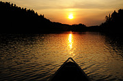 Boundary Waters Canoe Area Wilderness Posters - Paddling Off Into the Sunset Poster by Larry Ricker