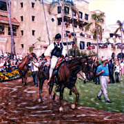 The World Is Money Prints - Paddock Leader Del Mar Print by Glenn McNary