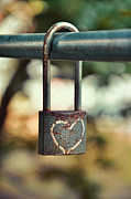 Chained Mixed Media Posters - Padlock with heart Poster by Gynt