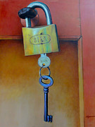 Painter Photo Photo Metal Prints - Padlocked Metal Print by Al Bourassa