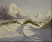 Cloudy Day Paintings - Padre Island Texas by Wanda Dansereau