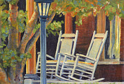 Rocking Chairs Drawings Prints - Paducah Porch Print by Diane Bay