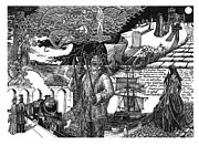Thor Drawings Prints - Paean to Whitby Print by Anthony Hodgson