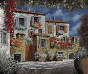 Italy Village Framed Prints - Paesaggio Al Chiar Di Luna Framed Print by Guido Borelli