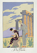 Handkerchief Framed Prints - Paestum Framed Print by Georges Barbier