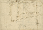 Planning Drawings Prints - Page from Atlantic Codex Print by Leonardo Da Vinci