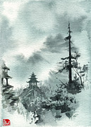 Chinese Landscape Posters - Pagoda Valley Poster by Sean Seal