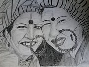 Two Ladies Drawings - Pahadi Ladies by Shivee Aswal
