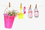 Funny Shoe Prints - Pail and shoes on white Print by Sandra Cunningham