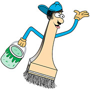 Tradesman Digital Art - Paint Brush Cartoon Character by Toots Hallam