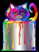 Cans Digital Art Prints - Paint Can Cat Print by Nick Gustafson