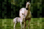 Friendly Digital Art - Paint Horse And Foal ll by Sheila Savage