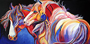 Abstract Equine Paintings - Paint Horse Colorful Spirits by Jennifer Morrison Godshalk