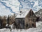Rural Snow Scenes Mixed Media Prints - Paint Horse Print by Dennis Buckman