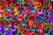 Photography Digital Art Posters - Paint Jars Popsicle Stix Poster by Alixandra Mullins