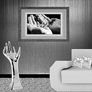 Necklace Photo Originals - Paint on the wall and white sofa in  silver living room by Grace  Olsson