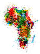 Watercolor Map Posters - Paint Splashes Map of Africa Map Poster by Michael Tompsett