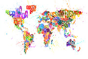 Urban Watercolor Digital Art Metal Prints - Paint Splashes Text Map of the World Metal Print by Michael Tompsett