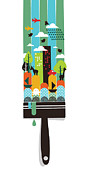Cute Illustration Framed Prints - Paint Your World Framed Print by Budi Satria Kwan