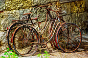 Brick Walls Prints - Painted Bikes Print by Debra and Dave Vanderlaan