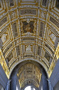 Painted Details Photo Metal Prints - Painted ceiling of staircase in Doges Palace Metal Print by Sami Sarkis