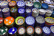 Bazaar Photos - Painted Ceramic Bowls In The Grand Bazaar Istanbul by Robert Preston