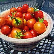 Home Grown Posters - Painted Cherry Tomatoes Poster by Kathy Clark