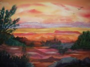 Badlands Painting Originals - Painted Desert II by Ellen Levinson