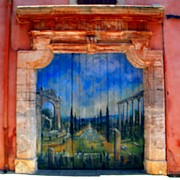 France Doors Digital Art Framed Prints - Painted door in Roussillon Framed Print by Manuela Constantin