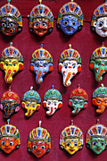 Painted Face Prints - Painted Elephant Souvenirs in Kathmandu Print by Robert Preston