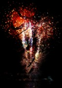 4th July Digital Art Prints - Painted Fireworks Print by Andrea Barbieri