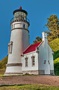 Guiding Light Posters - Painted Heceta Head Lighthouse Poster by Lara Ellis