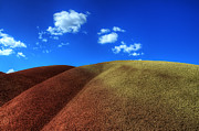Bob Christopher Travel Photographer Posters - Painted Hills Blue Sky 1 Poster by Bob Christopher