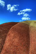 Bob Christopher Travel Photographer Posters - Painted Hills Blue Sky 2 Poster by Bob Christopher