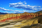 Bob Christopher Travel Photographer Posters - Painted Hills Blue Sky 3 Poster by Bob Christopher