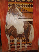 Rustic Pyrography Originals - Painted Horse by Lorna Babcock
