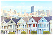 Invasion Of The Body Snatchers Framed Prints - Painted Ladies Alamo Square San Francisco Framed Print by Douglas MooreZart