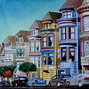 Alamo Square Framed Prints - Painted Ladies Framed Print by Andre Salvador