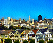 City Scape Digital Art Prints - Painted Ladies Print by Camille Lopez