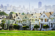 Fine Art Batik Prints - Painted Ladies Victorian Houses San Francisco Skyline Postcard Row Print by Jani Bryson