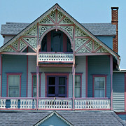 Wooden Building Posters - Painted Lady in Ocean Grove NJ Poster by Anna Lisa Yoder
