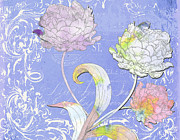Textile Collage Posters - Painted Peonies on Lavander Scrolls Poster by Anahi DeCanio