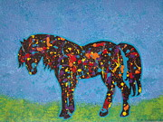 Jennifer Vazquez Metal Prints - Painted Pony abstract acrylic painting Metal Print by Jennifer Vazquez