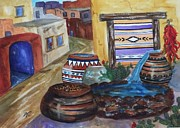 Chili Peppers Painting Originals - Painted Pots and Chili Peppers II  by Ellen Levinson